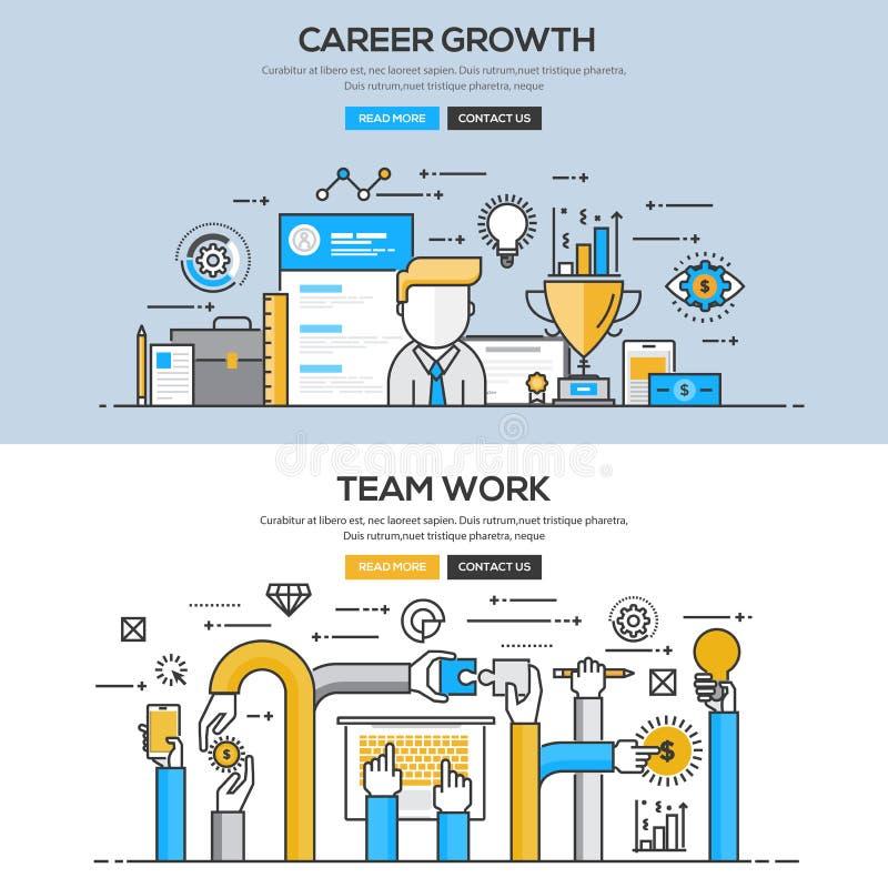 Linha lisa conceito do projeto - carreira e Team Work ilustração do vetor