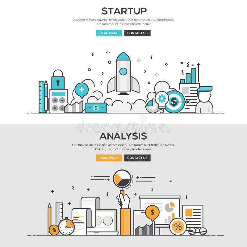 Linha lisa conceito do projeto - comece acima & análise ilustração stock