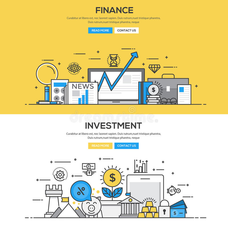 Linha lisa conceito do projeto - investimento e finança ilustração royalty free