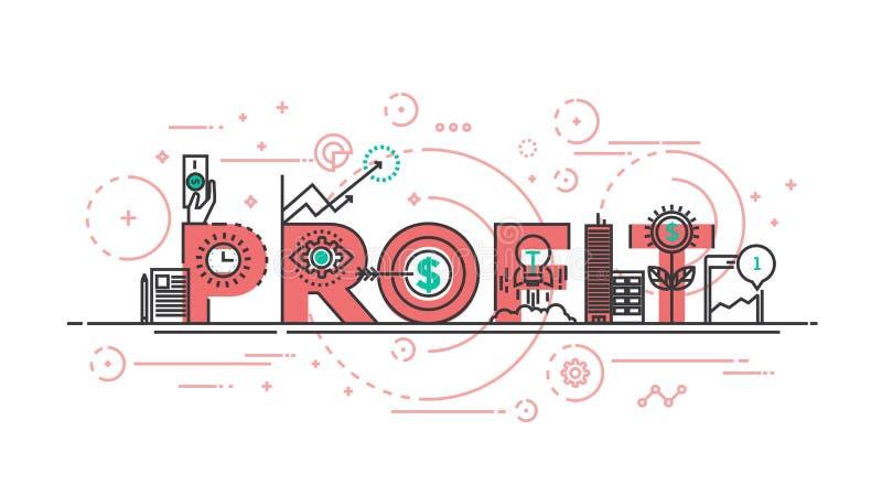 Linha lisa conceito do projeto - lucro ilustração stock