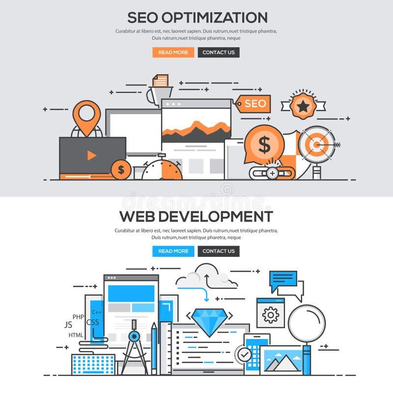 Linha lisa conceito do projeto - Seo & desenvolvimento ilustração stock