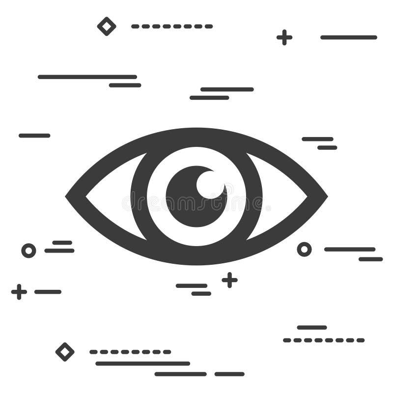 Linha lisa conceito gráfico da imagem do projeto da arte de um ícone do olho em um wh ilustração royalty free