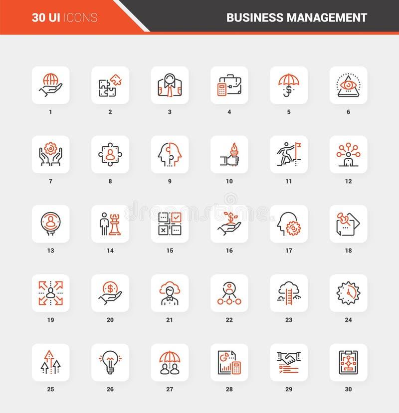 Linha lisa conceitos da gestão empresarial do ícone da Web ilustração do vetor
