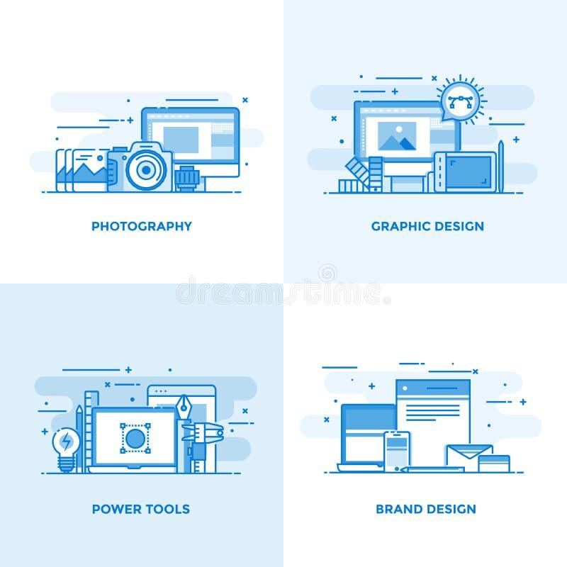 Linha lisa conceitos projetados 3 ilustração royalty free