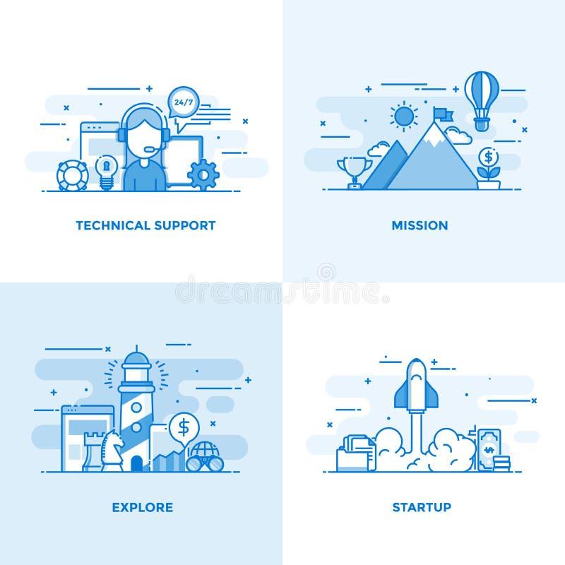 Linha lisa conceitos projetados 2 ilustração royalty free