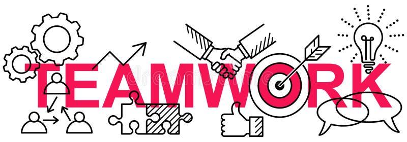 Linha lisa conceptiva limpa simples bandeira horizontal do vetor de ícones do negócio na palavra TRABALHOS DE EQUIPA ilustração do vetor