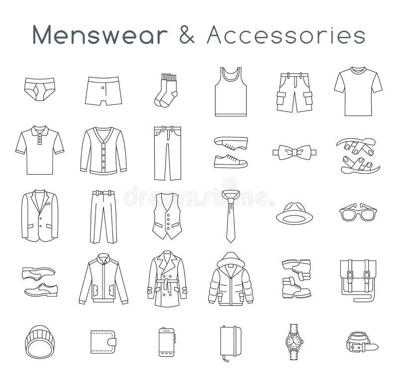 A linha lisa da roupa e dos acessórios da forma dos homens vector ícones