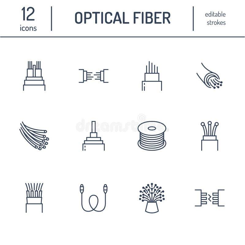 Linha lisa de fibra ótica ícones Conexão de rede, fio do computador, bobina do cabo, transferência de dados Sinais finos para ilustração stock