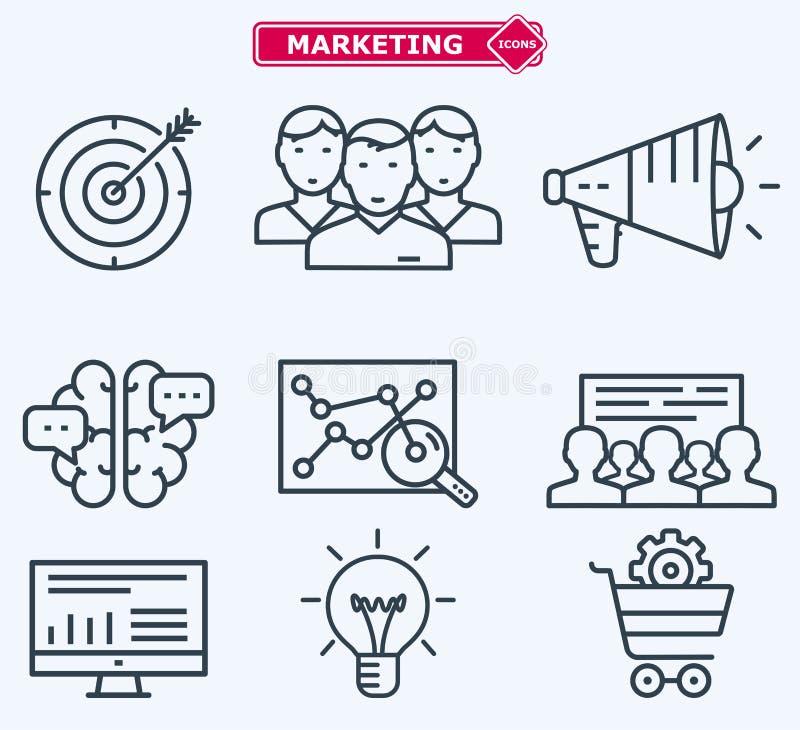 Linha lisa de mercado ícones Treinamento, desenvolvimento ilustração do vetor