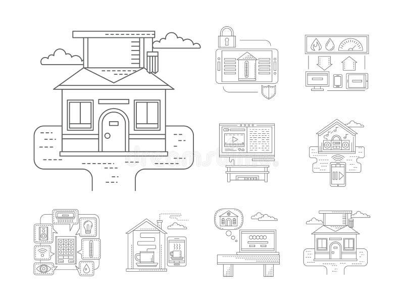 Linha lisa detalhada ícones da casa esperta ilustração do vetor