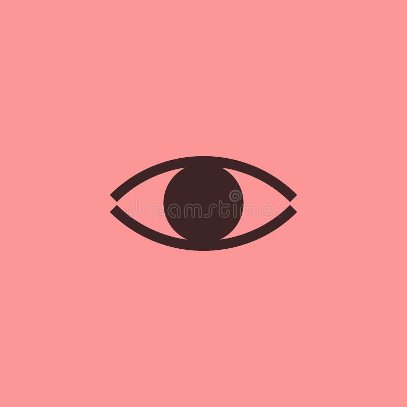 Linha lisa do ícone do olho no fundo cor-de-rosa foto de stock royalty free