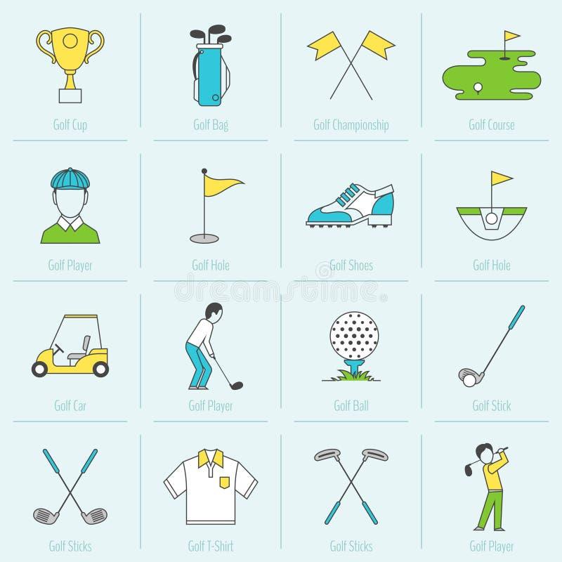 Linha lisa dos ícones do golfe ilustração royalty free