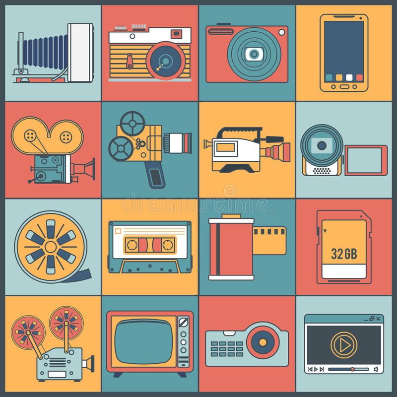 Linha lisa dos ícones video da foto ilustração stock