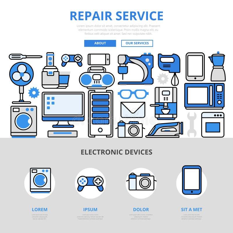 Linha lisa eletrônica ícones dos aparelhos eletrodomésticos do serviço de reparações da arte ilustração stock