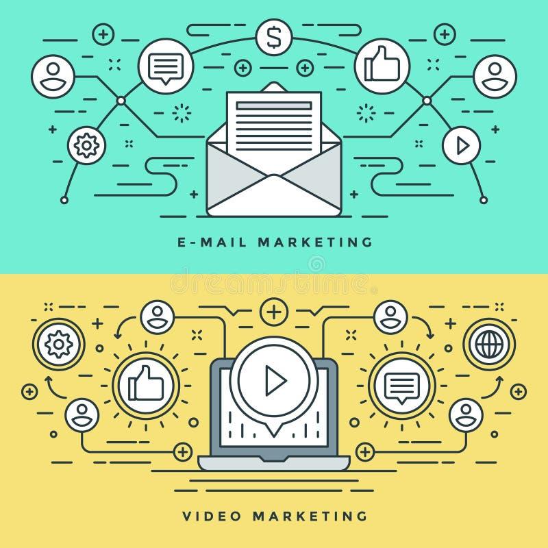 A linha lisa email e o conceito do mercado do vídeo Vector a ilustração Ícones lineares finos modernos do vetor do curso ilustração stock
