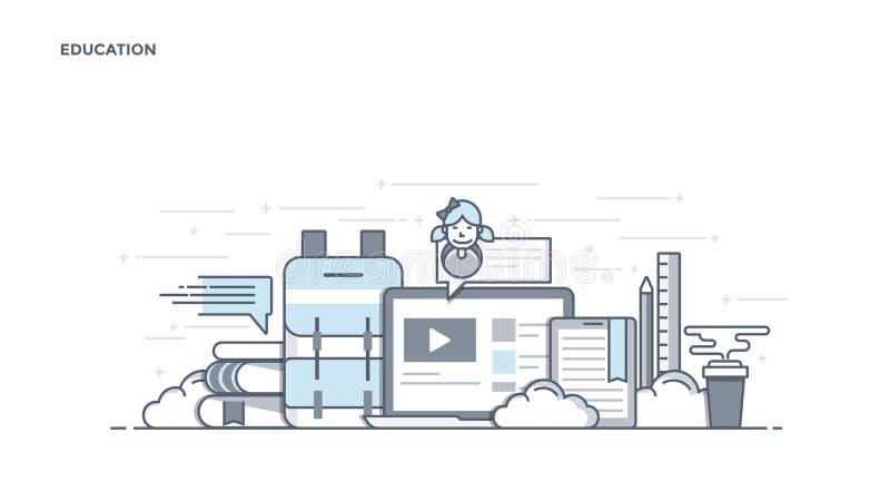 Linha lisa encabeçamento do projeto - educação ilustração stock