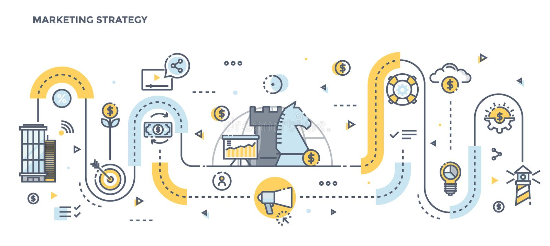 Linha lisa encabeçamento do projeto - estratégia de marketing ilustração royalty free