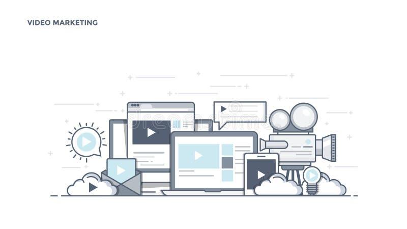 Linha lisa encabeçamento do projeto - mercado video ilustração royalty free
