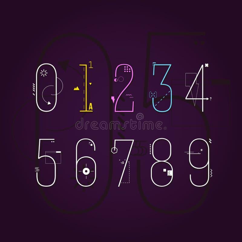 Linha lisa gráfica Art Style Numbers Set ilustração royalty free