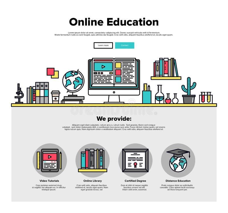 Linha lisa gráficos da educação em linha da Web ilustração royalty free