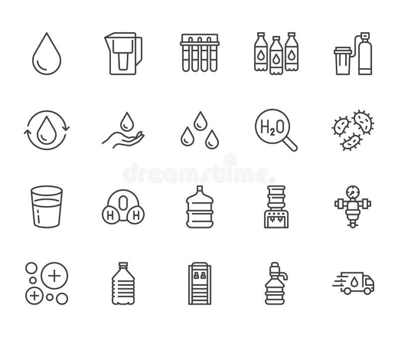 Linha lisa grupo da gota da água dos ícones Filtro do Aqua, emoliente, ionização, desinfecção, ilustrações de vidro do vetor Sina ilustração royalty free
