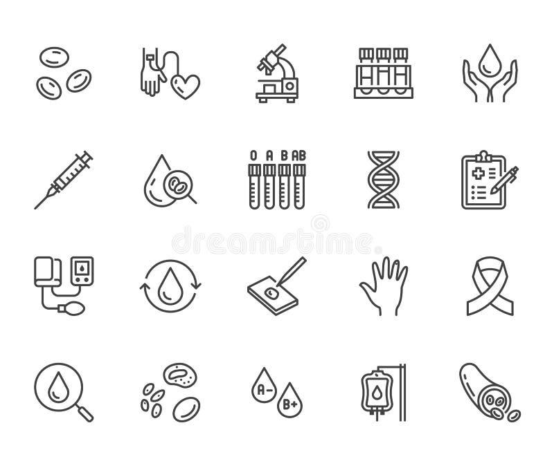 Linha lisa grupo da hematologia dos ícones Glóbulo, embarcação, sphygmomanometer, teste do ADN, vetor bioquímico do microscópio ilustração stock