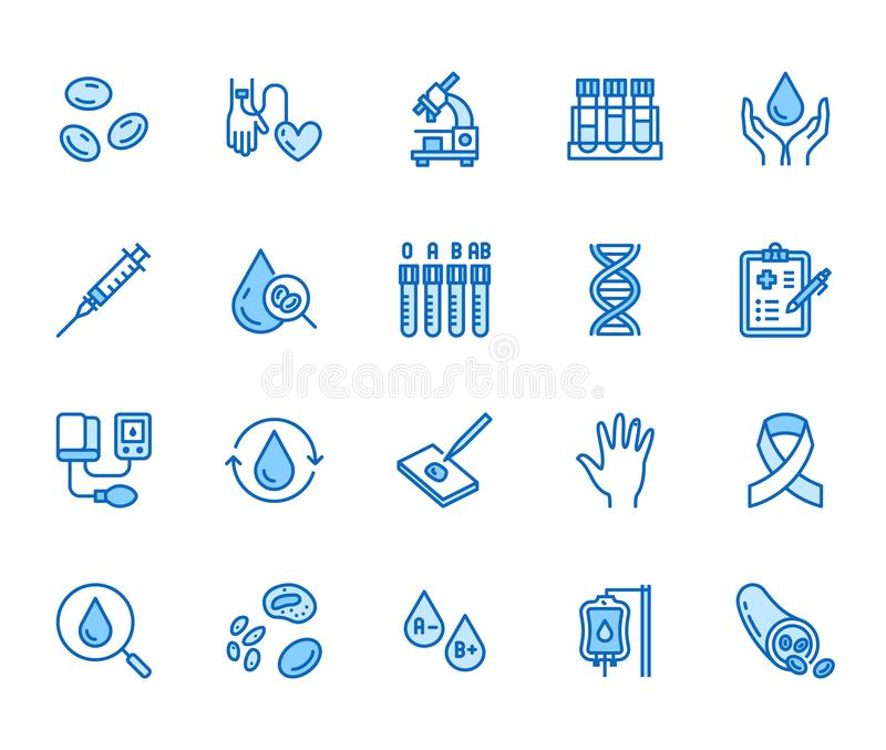 Linha lisa grupo da hematologia dos ícones Glóbulo, embarcação, sphygmomanometer, teste do ADN, vetor bioquímico do microscópio ilustração do vetor