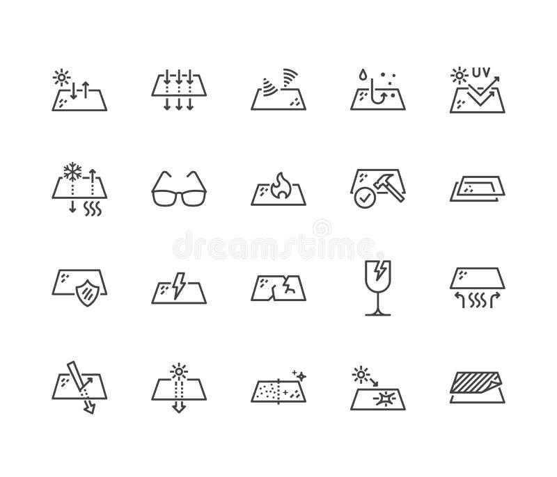 Linha lisa grupo das propriedades dos vidros dos ícones Características de vidro - reflexão do calor, proteção uv, brilho, transp ilustração royalty free