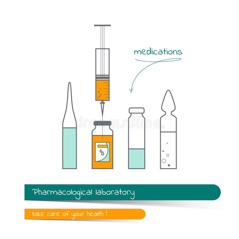 Linha lisa grupo do ícone da garrafa e da seringa médicas ilustração do vetor