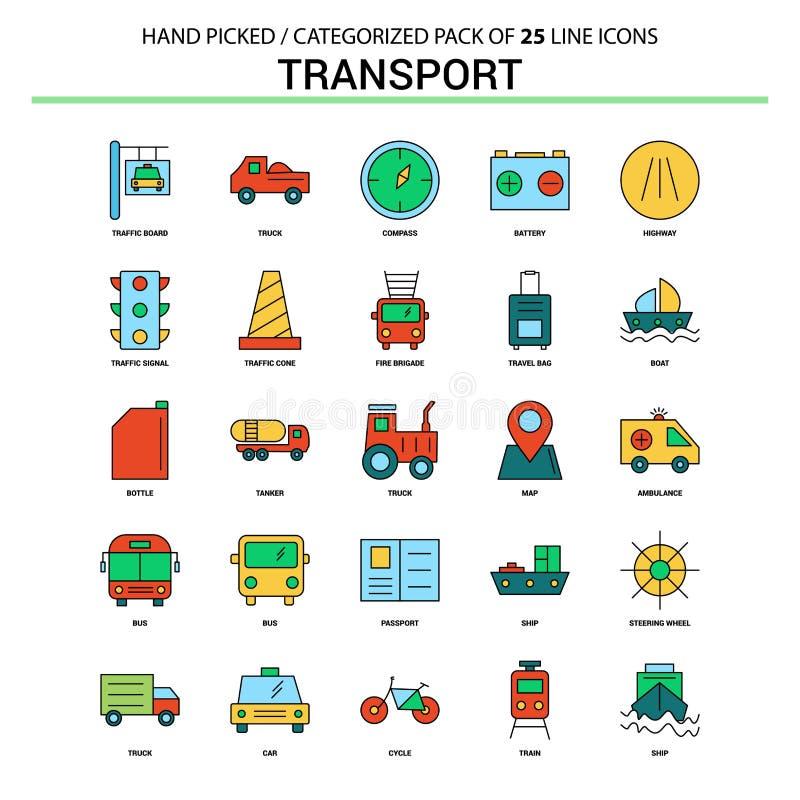 Linha lisa grupo do transporte do ícone - os ícones do conceito do negócio projetam ilustração royalty free