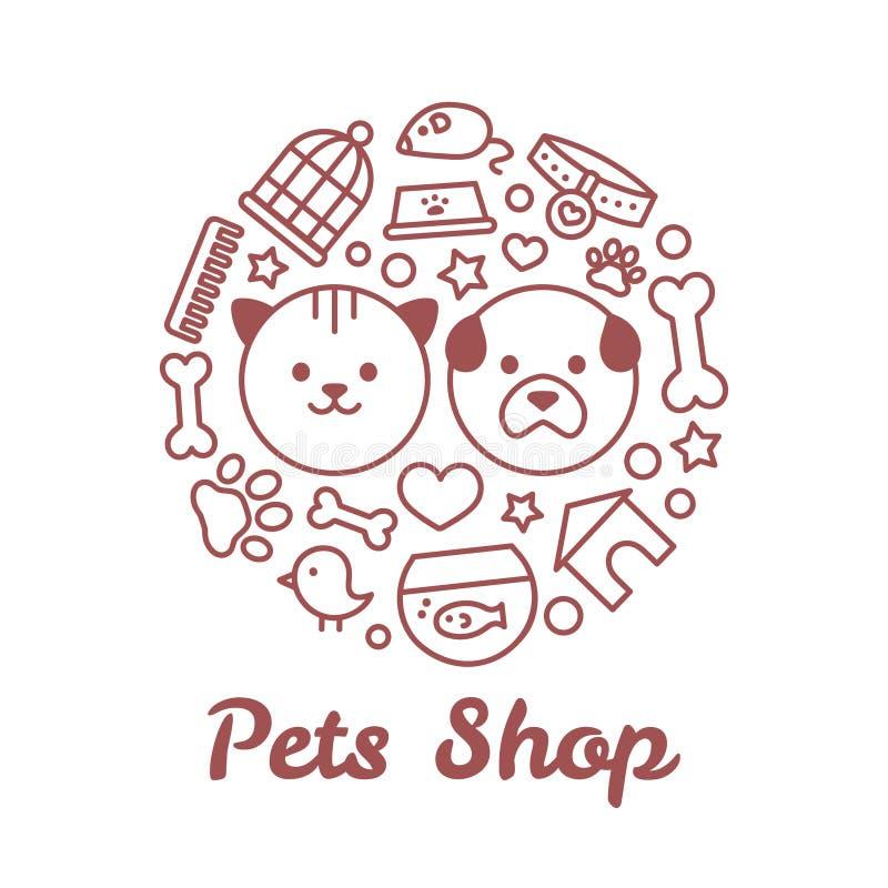 Linha lisa ilustração da loja de animais de estimação do estilo sob a forma de um círculo Para a loja de animais de estimação ou  ilustração stock