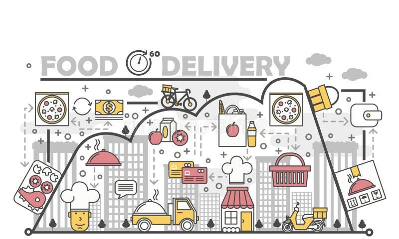 Linha lisa ilustração do vetor do conceito da entrega do alimento da arte ilustração royalty free