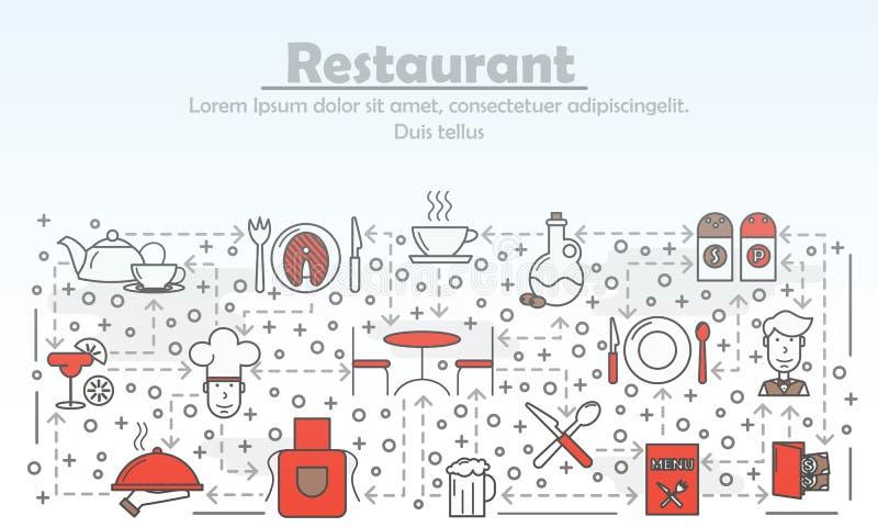 Linha lisa ilustração do vetor do conceito da propaganda do serviço do restaurante da arte ilustração do vetor