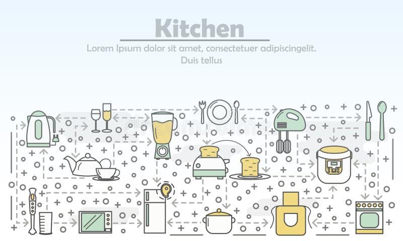 Linha lisa ilustração do vetor da propaganda da cozinha da arte ilustração stock