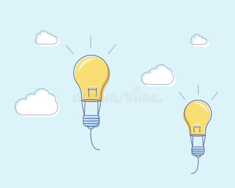 A linha lisa ilustração do vetor do projeto com ampolas do voo gosta de balões de ar Ilustração do vetor para a liberdade da facu ilustração royalty free