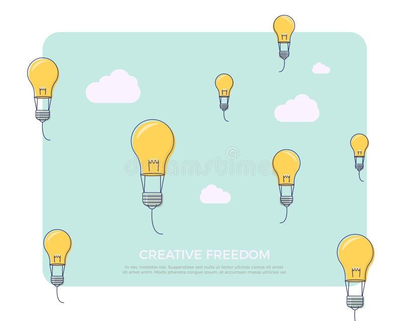 Linha lisa ilustração do vetor do projeto com as lâmpadas da ampola como balões de ar para assuntos da faculdade criadora ilustração royalty free