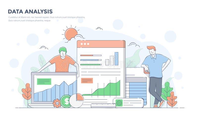 Linha lisa ilustração moderna do conceito - análise de dados ilustração do vetor