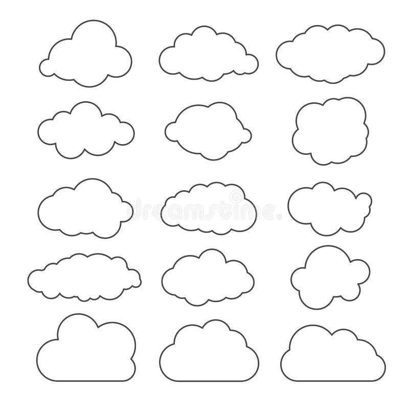 Linha lisa imagem gráfica do projeto da arte das nuvens de papel no CCB branco ilustração do vetor