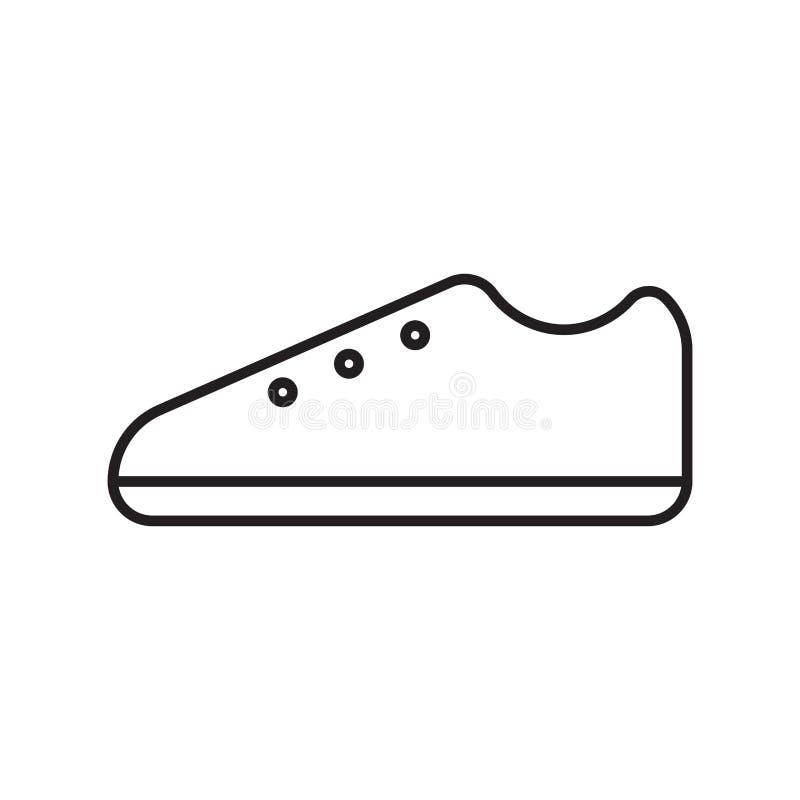 Linha lisa logotipo do ícone das sapatas do vetor do curso ilustração stock
