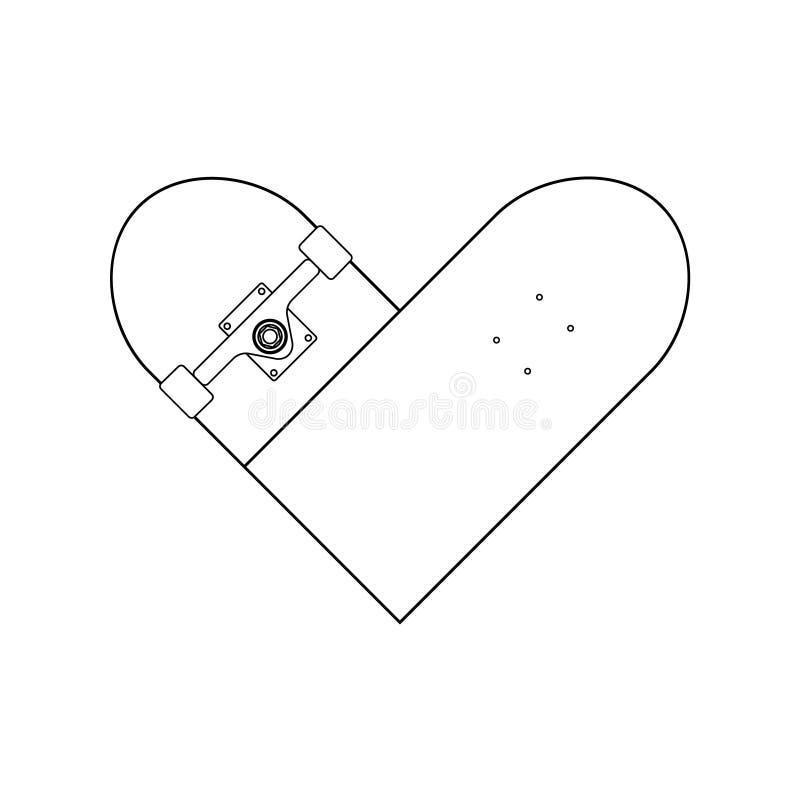 Linha lisa logotipo do vetor do coração do skate ilustração do vetor