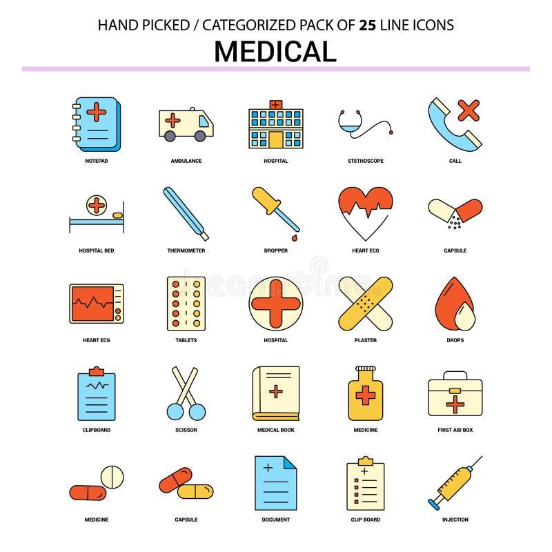 Linha lisa médica grupo do ícone - os ícones do conceito do negócio projetam ilustração royalty free