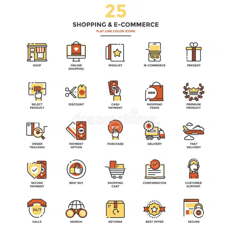 Linha lisa moderna compra e comércio eletrónico dos ícones da cor ilustração royalty free
