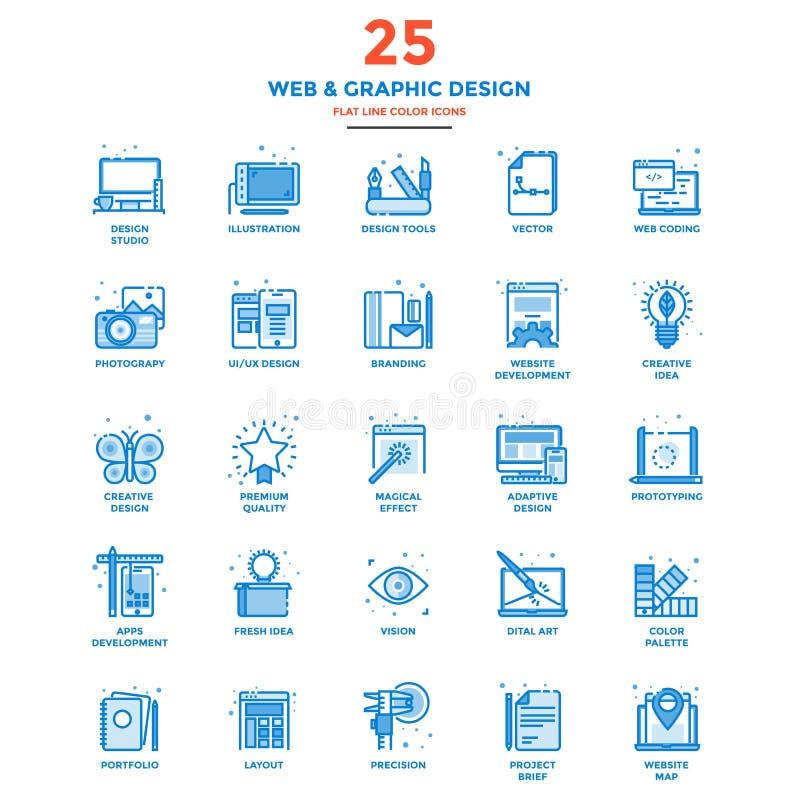 Linha lisa moderna Web dos ícones da cor e projeto gráfico ilustração do vetor