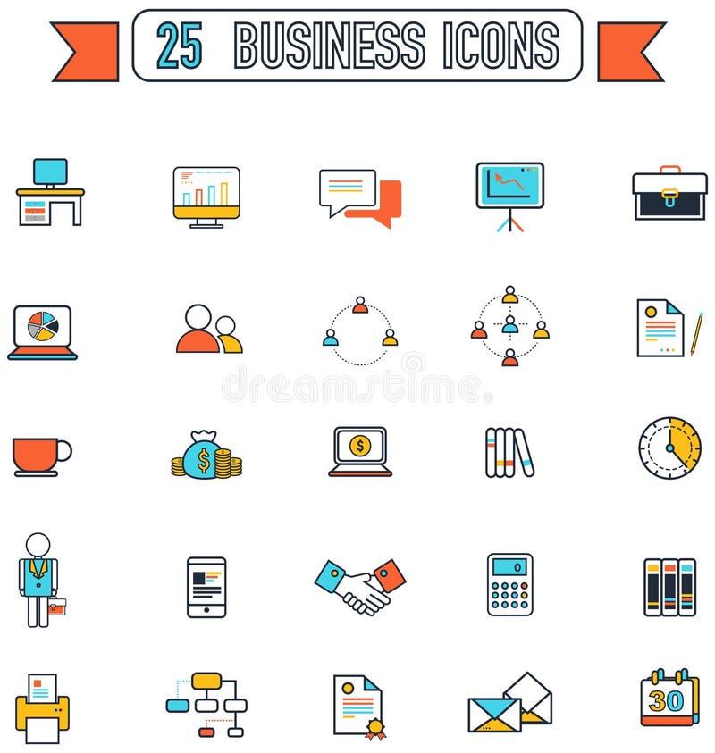 A linha lisa negócio e escritório utiliza ferramentas o sinal e o símbolo do equipamento ilustração stock