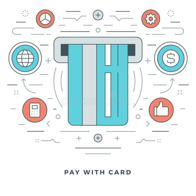 Linha lisa pagamento com cartão de crédito do conceito do negócio Ilustração do vetor Ícones lineares finos modernos do vetor do  ilustração stock
