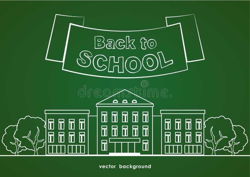 Linha lisa prédio da escola branco com árvores, fita e rotulação de volta à escola no fundo verde do quadro-negro ilustração do vetor