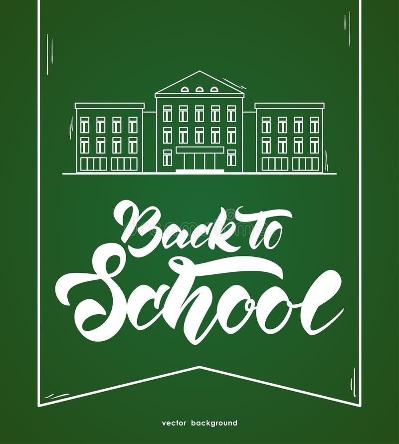 Linha lisa prédio da escola e rotulação brancos de volta à escola no fundo verde do quadro-negro ilustração royalty free