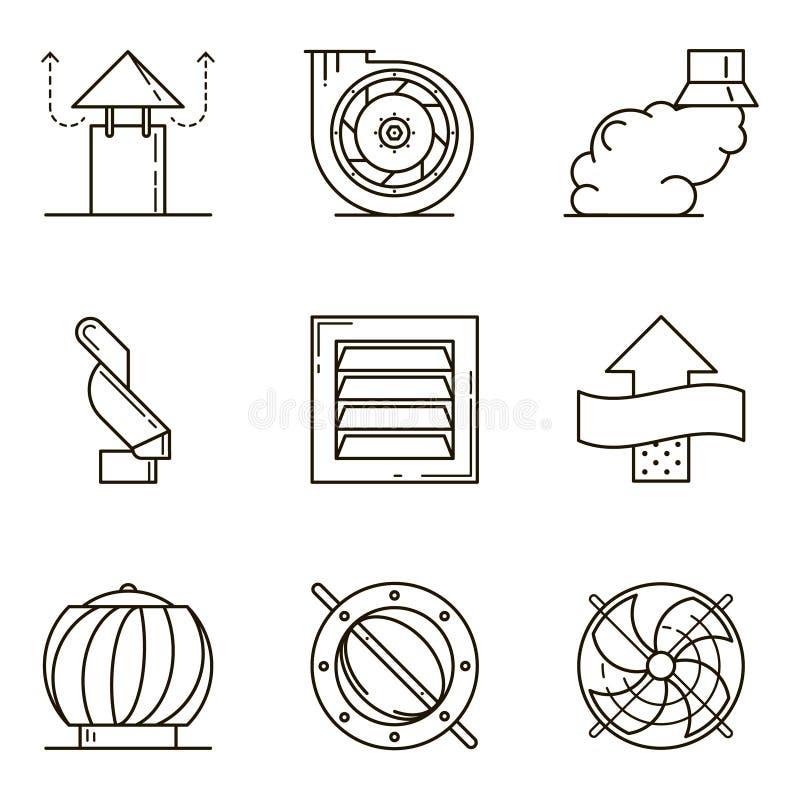A linha lisa preta ícone do vetor ajustou-se com uma imagem do eq da ventilação ilustração stock