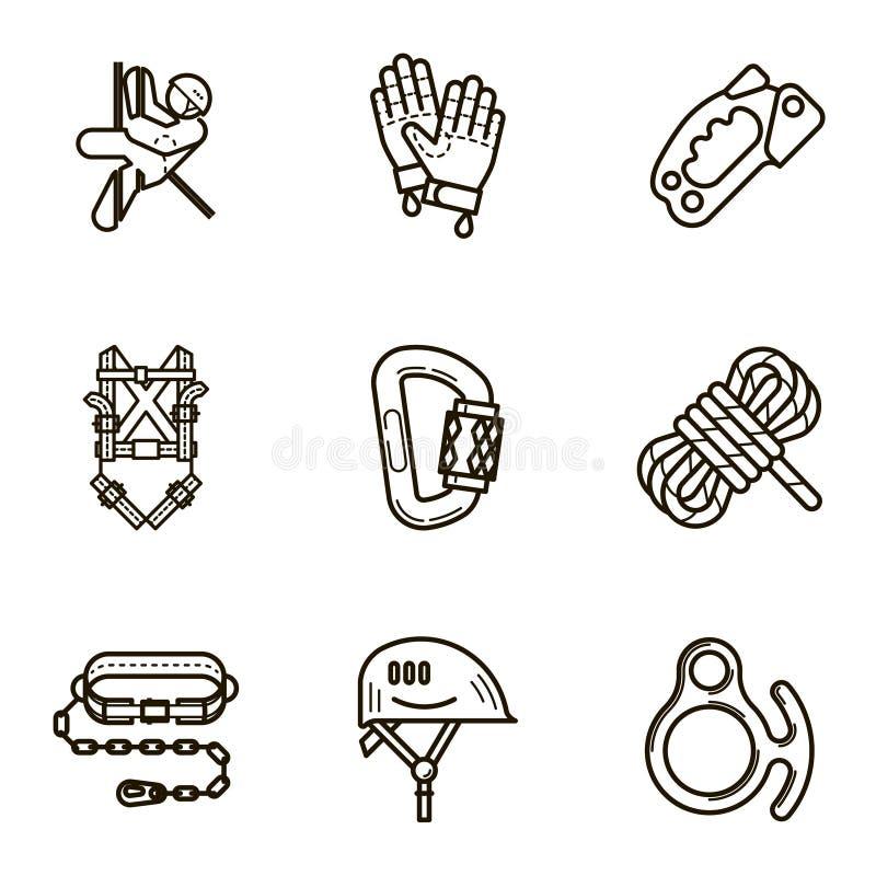 A linha lisa preta ícone do vetor ajustou-se com uma imagem do equipamento para ilustração royalty free