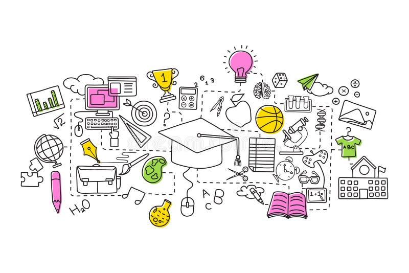 Linha lisa projeto da arte do conceito da educação ilustração stock